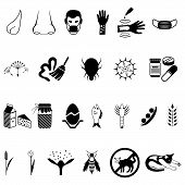 foto of dust mites  - Vector black allergies icons set  - JPG