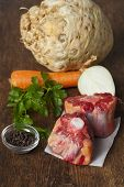 picture of oxen  - raw ox tail with ingredients on wood - JPG