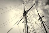 image of mast  - Low angle take of sailboat masts and rigging - JPG