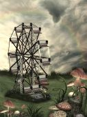 stock photo of fantasy  - Fantasy Landscape in a field with mushroom and wheel art and illustration - JPG