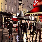 image of stroll  - Street in Paris at night  - JPG