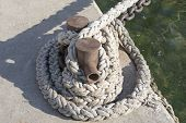 picture of bollard  - the big Bollard on moorage near sea - JPG