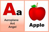 pic of kindergarten  - Alphabet letter A with clip - JPG