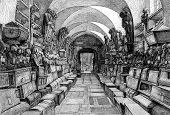 image of catacombs  - Wood cut engraved illustration of Capuchin catacombs of Palermo Sicily Italy - JPG