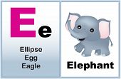 picture of kindergarten  - Alphabet letter E with clip - JPG