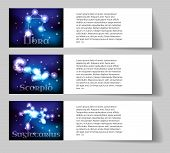 stock photo of libra  - Set or collection horoscope or zodiac or constellation libra scorpio sagittarius - JPG