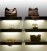 image of boutique  - Glamour boutique showcase with handbag and shoes - JPG