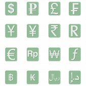 stock photo of dirhams  - A set of some currency symbol icons for different currencies - JPG