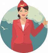 pic of flight attendant  - young girl in the form of a flight attendant on a background of the sky with clouds - JPG