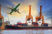 foto of air transport  - container ship loading on port and cargo plane flying above for water and air transportation industry - JPG