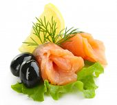 image of olive shaped  - Sliced and rolled salmon - JPG