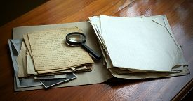 pic of investigation  - Vintage documents with magnifying glass investigation concept - JPG