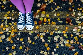 picture of street-walker  - woman standing on the autumn leaves street - JPG