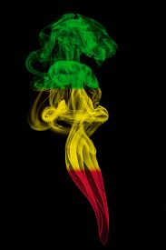 picture of reggae  - Smoke pillar colored in flag of reggae music - JPG