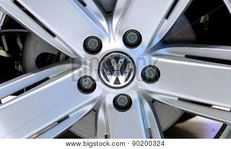 Logo Of Volkswagen On Wheel
