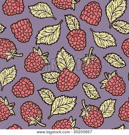 Delicate raspberries pattern