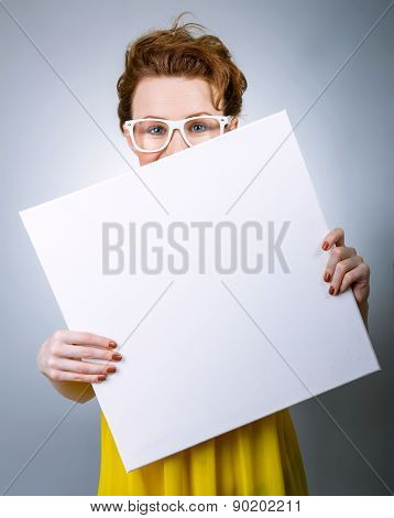Childish Woman With White Blank Board