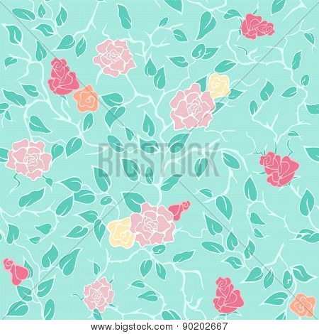 Vector mint seamless pattern with pink roses and branches