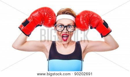 Surprised Fitness Woman With Boxing Gloves, Isolated On White