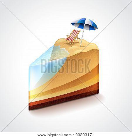 Beach As Cake, Vacation Or Travel Concept Vector