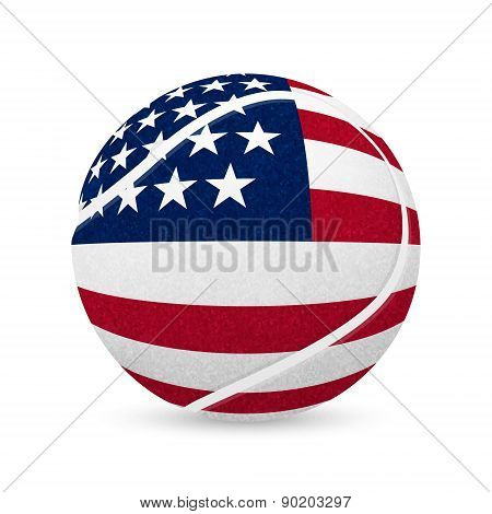 Tennis Balls With Us Flag Isolated On White.