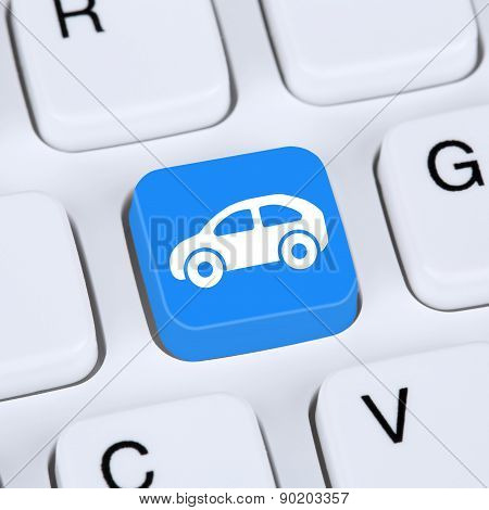 Internet Concept Selling Or Buying A Car Online Button On The Computer