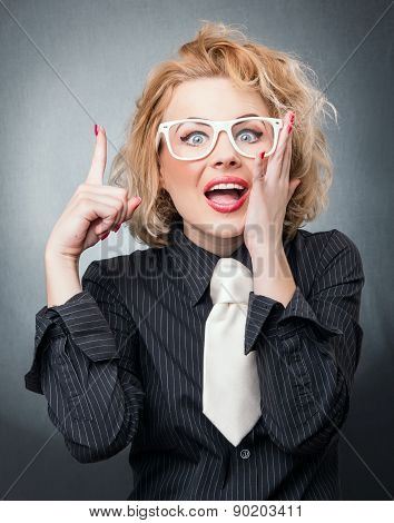 Busineswoman Have The Idea. Female With Finger Up, Expression Face