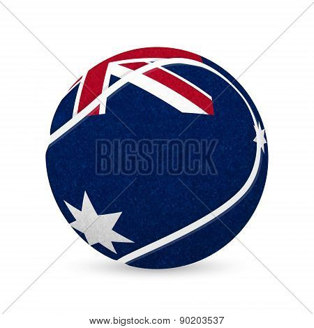 Tennis Balls With Australian Flag Isolated On White.