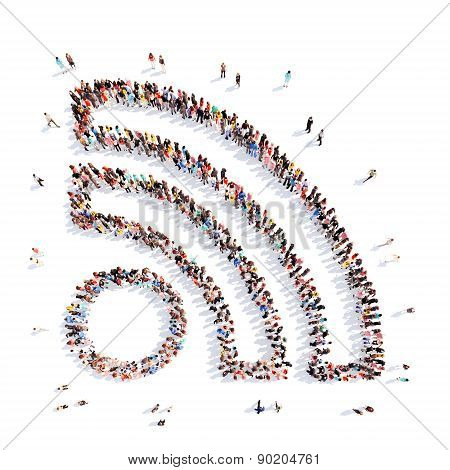 people in the shape of a Wi Fi.
