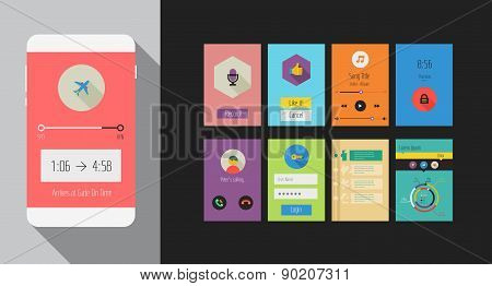 Flat Ui Or Ux Mobile Apps Kit