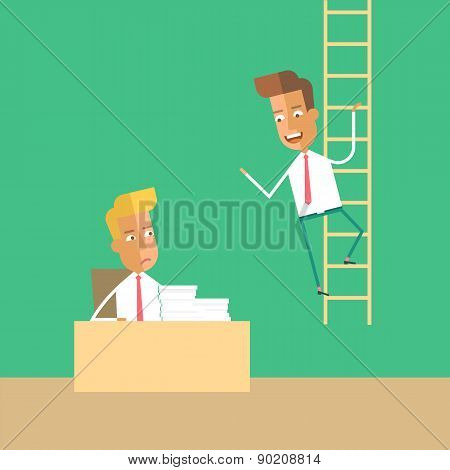 Career development. Man climbs up the stairs.