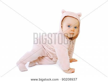 Littlbe Baby Playing Crawls In Warm Soft Overalls