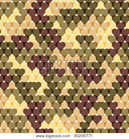 Military romantic seamless pattern of heart khaki