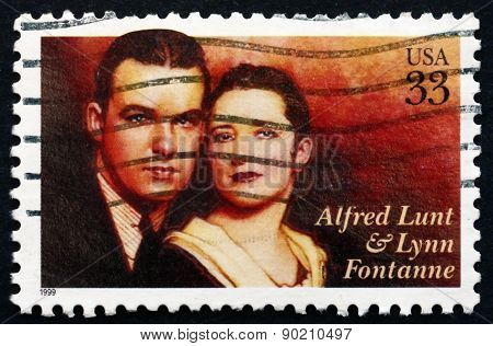 Postage Stamp Usa 1999 Alfred Lunt And Lynn Fontanne, Actors