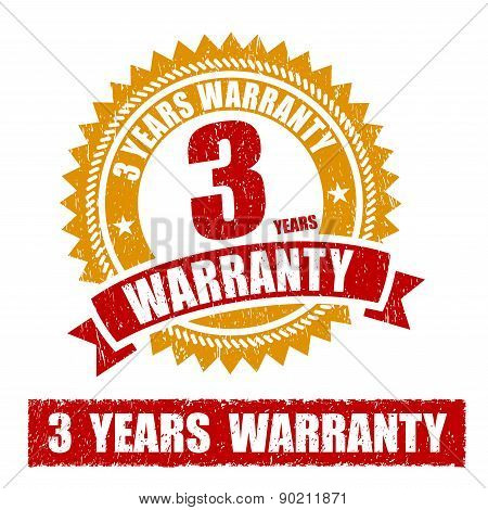 3 Years Warranty Rubber Stamp