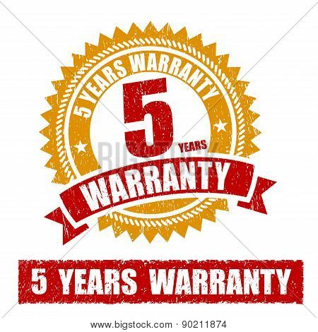 5 Years Warranty Rubber Stamp