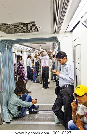 Delhi - Novemmer 11: Passengers Alighting Metro Train On November 11, 2011 In Delhi, India. Nearly 1