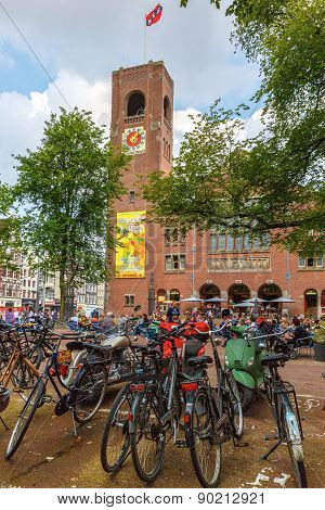 Bikes on Amsterdam street, Holland, Netherlands