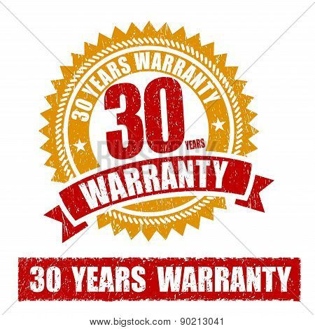 30 Years Warranty Rubber Stamp