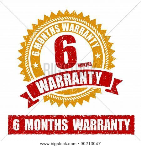 6 Months Warranty Rubber Stamp