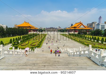 Libery Square with Chiang Kai-shek Memorial Garden in Taipei, Taiwan.