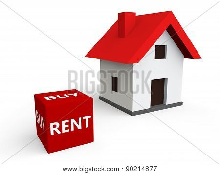 3d render of house buy or rent
