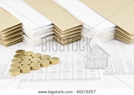 House With Pile Of Gold Coins As Triangle