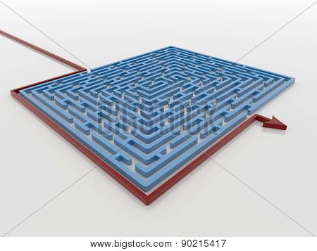 Red Arrow Path Around Blue Maze Labyrinth 3D Render, Solution Concept
