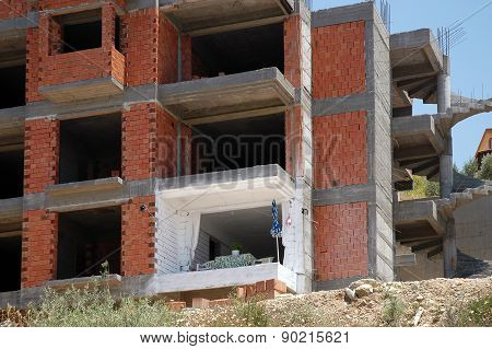 Impatient renter in unfinished building