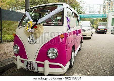 The vintage Volkswagen wedding car