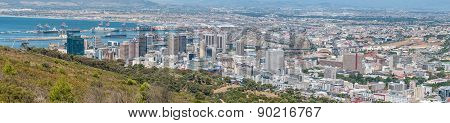 Panoramic View Of Cape Town Central Business District And Harbor
