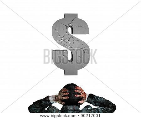 Businessman Hands Holding Head Facing Cracking 3D Concrete Dollar Sign