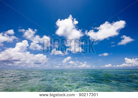 Horizon over clear blue tropical water in the Maldives