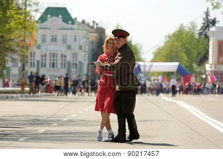 Orel, Russia - May 09, 2015: Celebration Of The 70Th Anniversary Of The Victory Day (wwii). Man In M